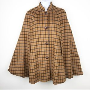 Vintage 70's EDDIE BAUER Wool Plaid Swing Cape